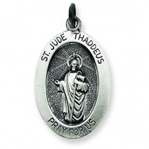 Antiqued St Jude Thaddeus Medal in Sterling Silver