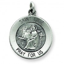 Antiqued St Luke Medal in Sterling Silver