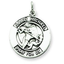 Oxidized St Michael Medal in Sterling Silver