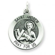 Antiqued Saint Andrew Medal in Sterling Silver