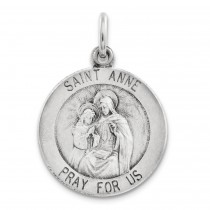 Antiqued Saint Anne Medal in Sterling Silver