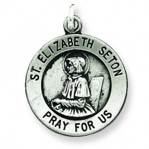 Antiqued St Elizabeth Seton Medal in Sterling Silver
