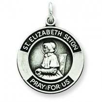 Oxidized St Elizabeth Medal in Sterling Silver