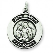 Oxidized St Anne Medal in Sterling Silver