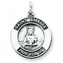 Oxidized St Barbara Medal in Sterling Silver