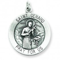 Antiqued St Gerard Medal in Sterling Silver