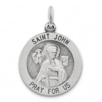 Antiqued St John Medal in Sterling Silver