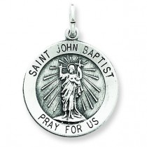 Antiqued St John the Baptist Medal in Sterling Silver