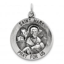 Antiqued St Mark Medal in Sterling Silver