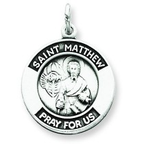 Oxidized St Matthew Medal in Sterling Silver