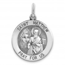 Antiqued St Matthew Medal in Sterling Silver