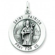 Antiqued St Patrick Medal in Sterling Silver