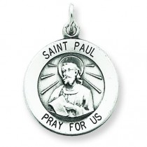 Antiqued St Paul Medal in Sterling Silver