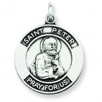 Oxidized St Peter Medal in Sterling Silver