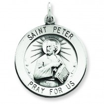 Antiqued St Peter Medal in Sterling Silver