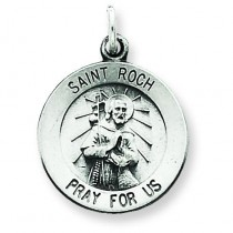 Antiqued St Roch Medal in Sterling Silver