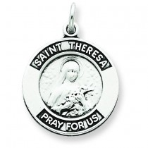 Oxidized St Theresa Medal in Sterling Silver