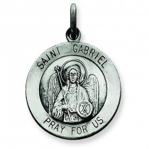 Antiqued St Gabriel Medal in Sterling Silver