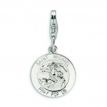 Saint Michael Medal Lobster Clasp Charm in Sterling Silver