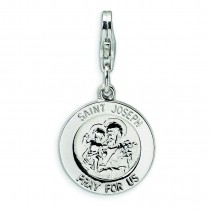 Saint Joseph Medal Lobster Clasp Charm in Sterling Silver