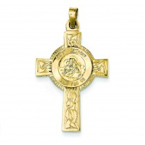 St Anthony Cross Medal in 14k Yellow Gold