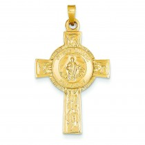 St Jude Cross Medal in 14k Yellow Gold