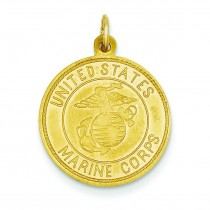 US Marine Corp St Christopher Medal in 14k Yellow Gold
