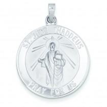 St Jude Medal in 14k White Gold