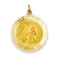 St Francis Medal in 14k Yellow Gold