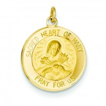 Sacred Heart Of Mary Medal in 14k Yellow Gold