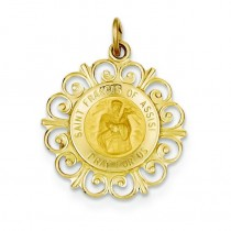 St Francis Of Assisi Medal in 14k Yellow Gold