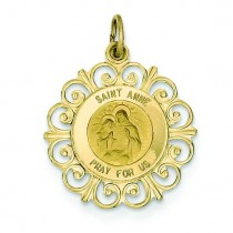 St Anne Medal in 14k Yellow Gold
