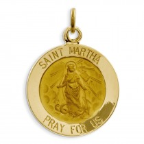 St Martha Medal Charm in 14k Yellow Gold