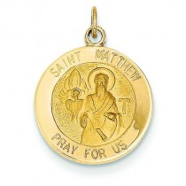 St Matthew Medal in 14k Yellow Gold