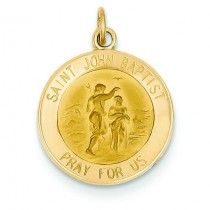 St John Baptist Medal in 14k Yellow Gold