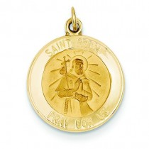 St Roch Medal in 14k Yellow Gold
