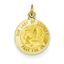 Our Lady Of Lourdes Medal in 14k Yellow Gold