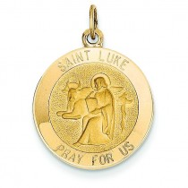St Luke Medal in 14k Yellow Gold
