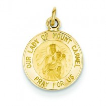 Our Lady Of Mount Carmel Medal in 14k Yellow Gold