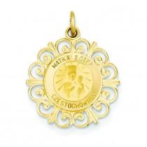 Matka Boska Medal in 14k Yellow Gold
