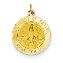 Our Lady Of Fatima Medal in 14k Yellow Gold
