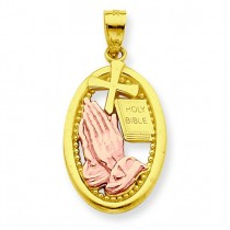 Praying Hands Pendant in 10k Two-tone Gold