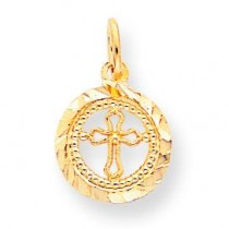 Cross In Frame Charm in 10k Yellow Gold