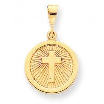 Polished Eternal Life Disc Charm in 10k Yellow Gold
