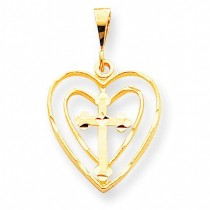Cross In Heart Charm in 10k Yellow Gold