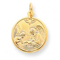 Polished Baptism Disc Pendant in 10k Yellow Gold