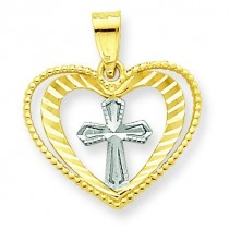 Heart Cross Charm in 10k Yellow Gold