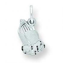 Praying Hands Charm in 10k White Gold