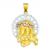 Jesus Pendant in 14k Tri-color Gold