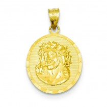 Jesus Medal Pendant in 14k Yellow Gold